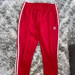 RED ADIDAS TRACK BOTTOMS